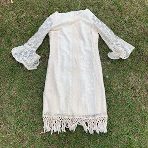 Charming Charlie's lace fringe boho dress